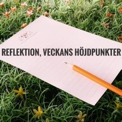 Texten: Reflektion, veckans höjdpunkter - står skrivet över ett papper. Följ Susanne på Instagram för att läsa mer om hur reflektion kan hjälpa dig att växa.