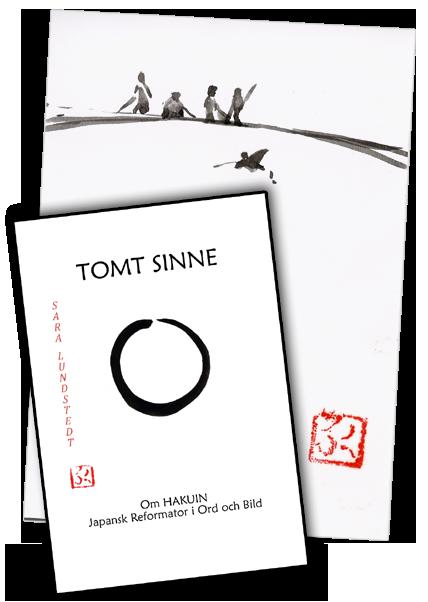 Bild på omslaget till TOMT SINNE liggande över tuschmålning med människor och vatten