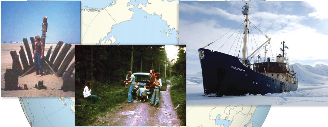 """Bild: kollage med bilder från Bo Ranmans """"Längs vägen"""" (Bo stående i ett strandat vrak;"""