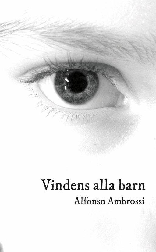 Bild: omslag till Alfonso Ambrossis 'Vindens alla barn'. Det är vitt en närbild av ett öga och titel och namn på.