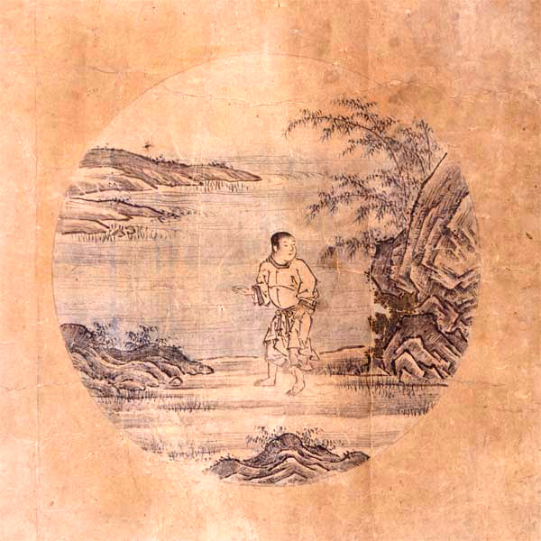 BILD: 'Sökande oxen' av Tenshō Shūbun, en ung man spanar vid sjöstranden (gammal japansk tuschmålning)