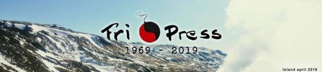 BILD: Vy över isländska fjäll med snöfria partier. Över ligger Fri Press logo och texten 1969-2019