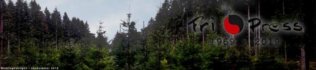 BILD: Bakom en tät skog med både nyplanterade och äldre granar skymtar lite av himlen. Över bilden ligger vår jubileumslogga med texten Fri Press 1969-2019. Bilden fungerar som länk till startsidan.