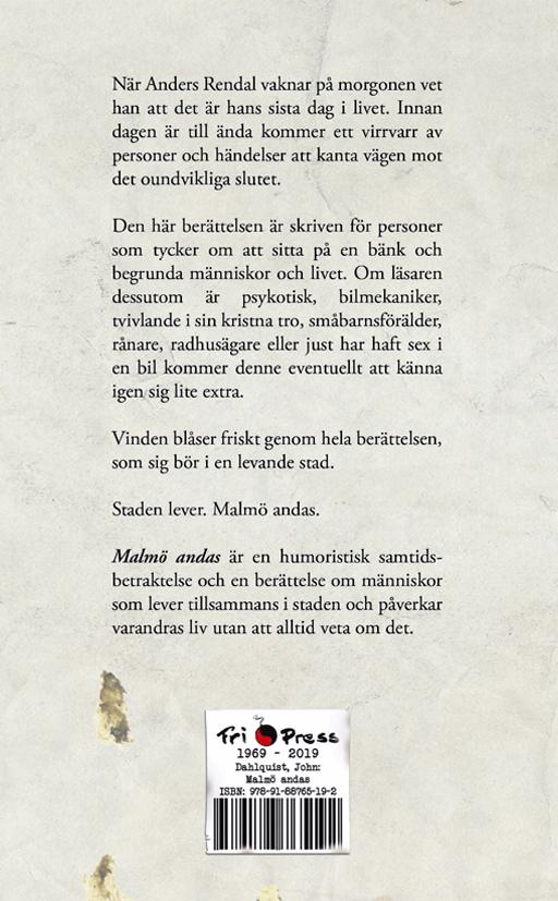 BILD: Baksidan av omslaget till 'Malmö andas' av John Dahlquist, det är fläckigt och ser slitet ut