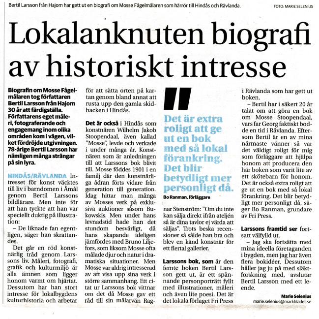 BILD: klipp från Marie Selenius artikel 'Lokalanknuten biografi av historiskt intresse – länk till Markbladet