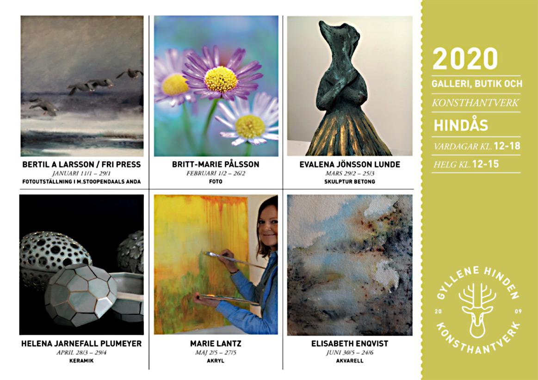 BILD: kort med utställningar på Gyllene Hinden våren 2020 – länk till GH:s webbplats