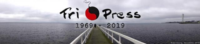 BILD: Header med bild av en lång brygga i Ribersborg med Fri Press logo och texten 1969-2019