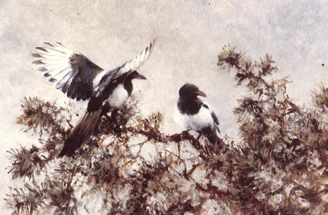 BILD: Målning av Vilhelm Jakob (Mosse) Stoopendaal med två skotor i en enebuske
