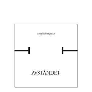 BILD: Omslaget till 'AVSTÅNDET' av Calle Flognman, tilteln är illustrerad med två streck som inte når varandra