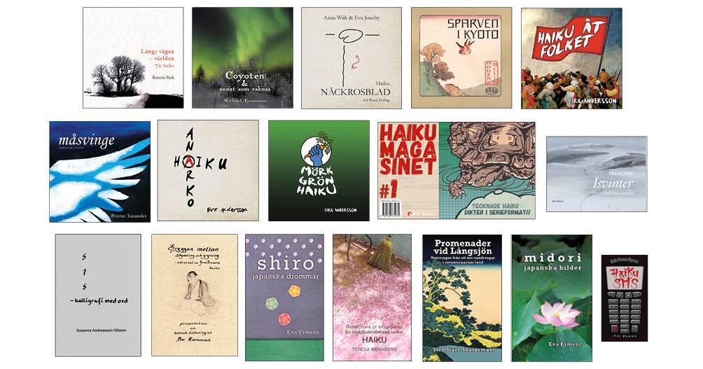 BILD: Omslagen till några haikuböcker från Fri Press Förlag