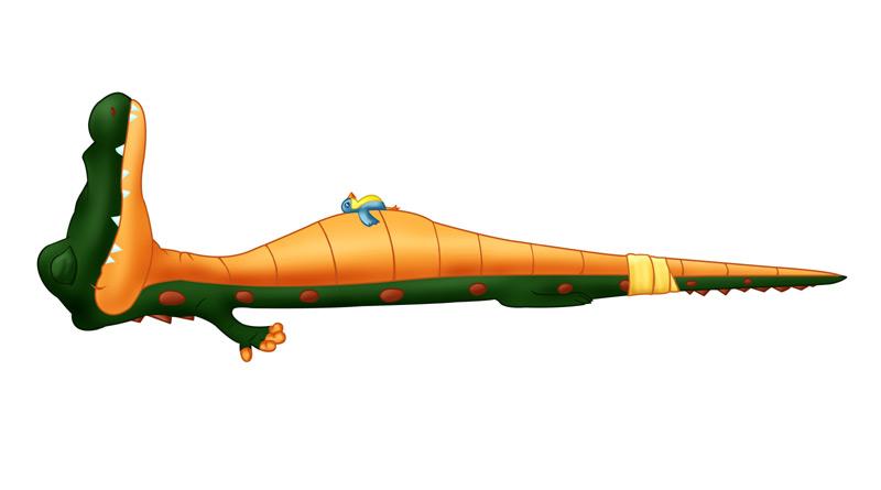 BILD: liten fågel och stor krokodil som vilar i 'dödsstilla', illustration till 'Yoga som djur! av Dag Persson och Sara Lundstedt