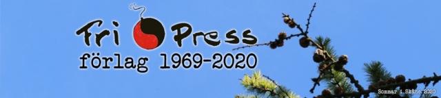 BILD: Header med logo, Fri Press förlag 1969-2020 med en lärkgren mot klarblå himmel