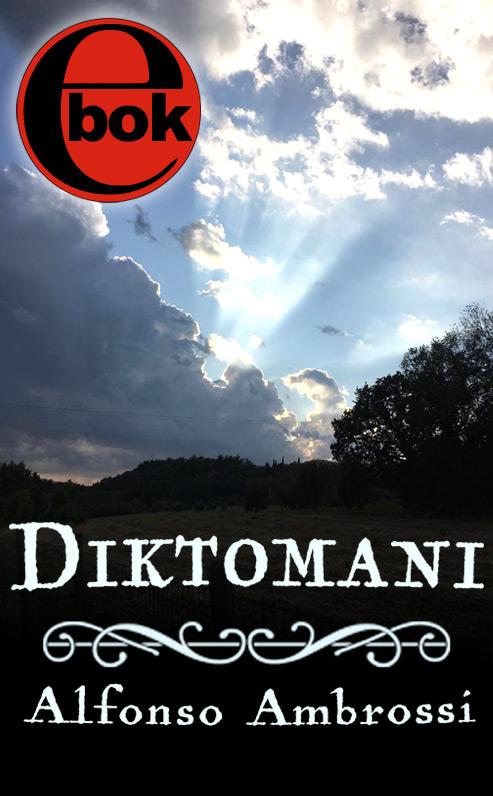 Omslaget till 'Diktomani' av Alfonso Ambrossi, där solen bryter igenom bland molnen över en mörk skog