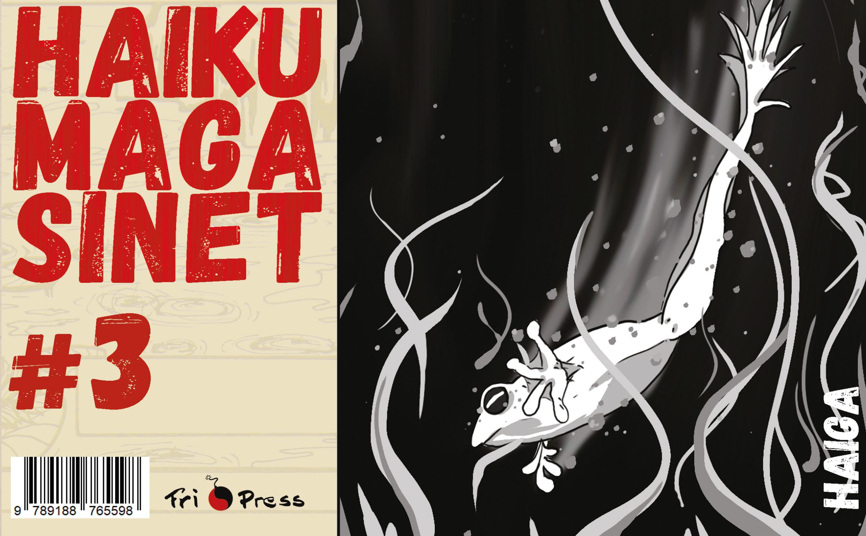 Omslaget till 'Haikumagasinet #3' med en groda som simmar under vattnet i en damm