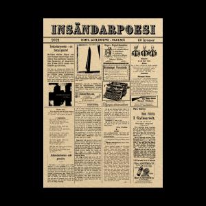 Omslaget till 'Insändarpoesi' av Emil Ahlbertz, som liknar en gammal tidning med små artiklar och annonser tryckt på