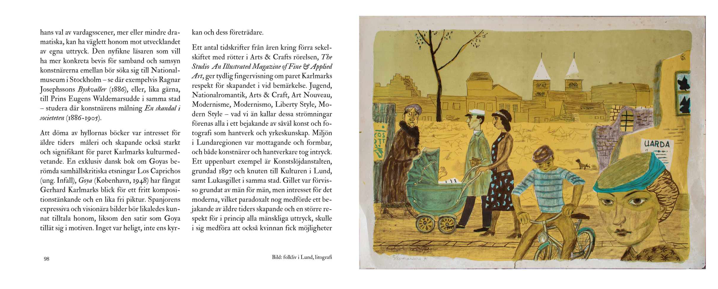 Uppslag ur boken 'Gerhard Karlmark – ett konstnärsliv' av Michael Economou (sid 98-99)