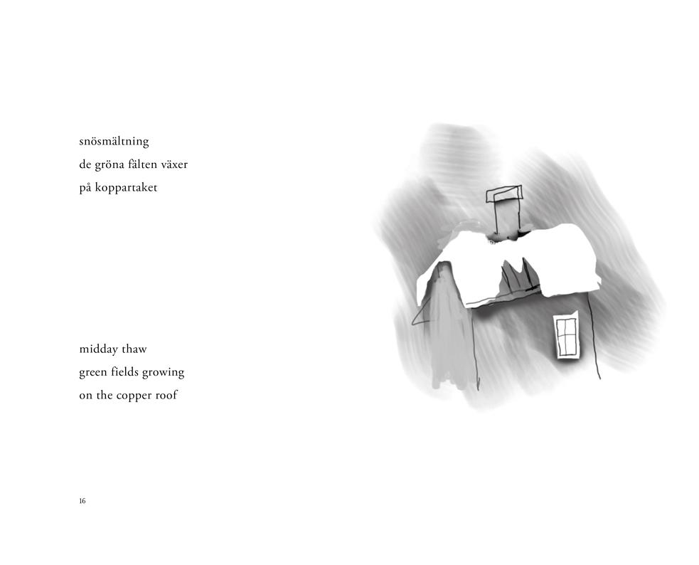 Ett uppslag ur 'Havet har inget namn / The sea has no name – haiku' av Lars Granström med en dikt på engelska och svenska och ett översnöat hustak som illustration