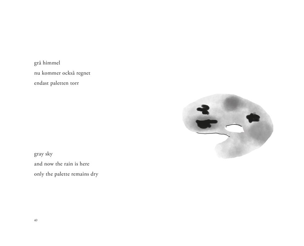Ett uppslag ur 'Havet har inget namn / The sea has no name – haiku' av Lars Granström med en dikt på engelska och svenska och en målarpalett som illustration