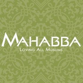 Mahabba logo med grøn mønster baggrund. Billedet indeholder et link som omdirigerer til Mahabba hjemmeside.
