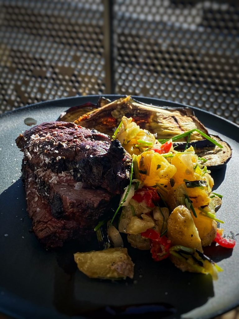 Barbeque Potato Salad with Grilled beef tenderloin