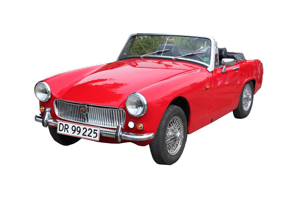 En rød veteranbil