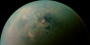 This false-color mosaic, made from infrared data collected by NASA's Cassini spacecraft, reveals the differences in the composition of surface materials around hydrocarbon lakes at Titan, Saturn's largest moon. To human eyes Titan would look Orange. Image released Oct. 23, 2013.