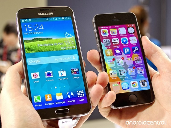 galaxy s5 and iphone 5