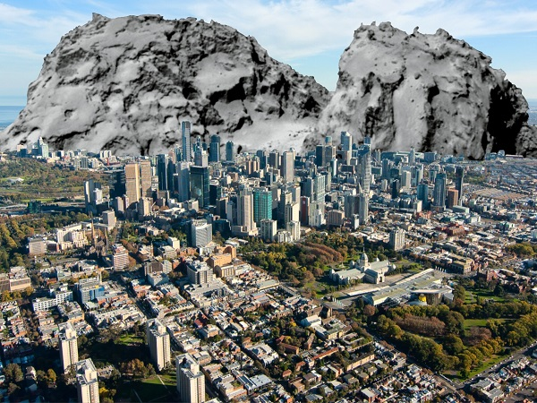 comet67p melbourne city size comparison
