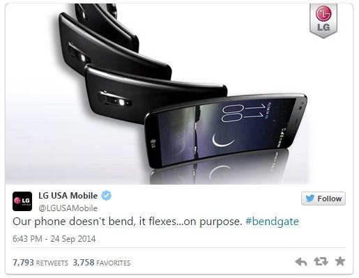 lg gflex bendgate funny twitter tweet ad parody