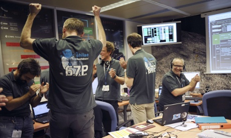 rosetta philae comet landing scientists cheering mission control