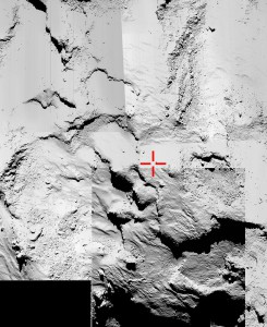 A collection of five images from the Rosetta spacecraft's OSIRIS narrow-angle camera is being used to try to identify the final touchdown point of the lander Philae. The European Space Agency marked the suspected landing area with a red cross.