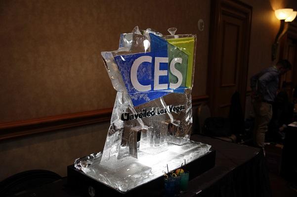 ces unveiled logo ice sculpture