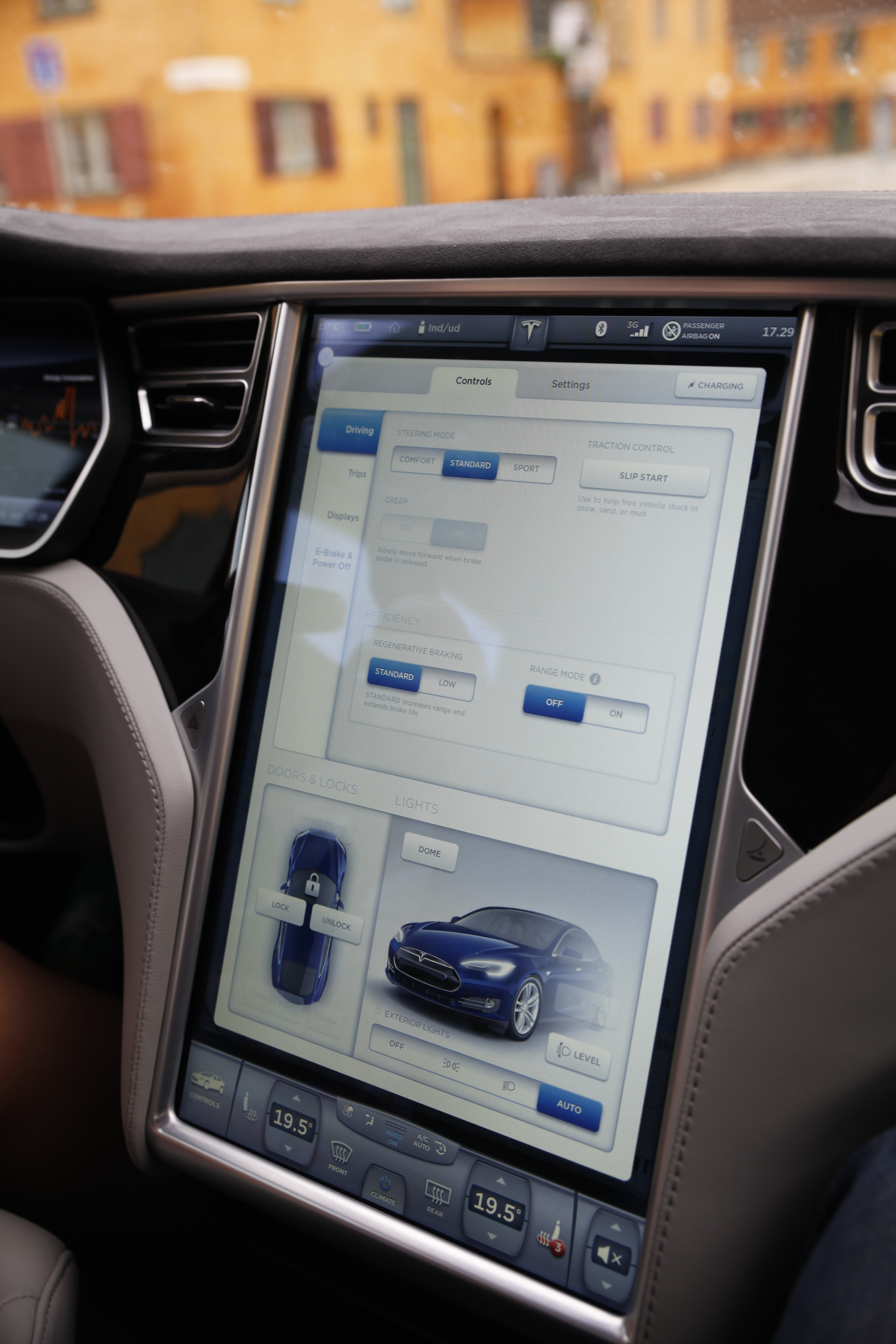 tesla middle screen console settings options