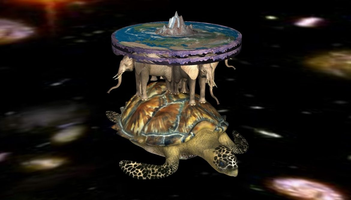 a turtle is 2000 feet above the ground. a marble is above the turtle. the ground is invisible. 1st elephant is in front of the marble. 1st elephant is facing front. it is 1 feet wide. 2nd elephant is to the right of the marble. 2nd elephant is facing right. it is 1 feet wide. 3rd elephant is to the left of the marble. 3rd elephant is facing left. it is 1 feet wide. 4th elephant is at the back of the marble. 4th elephant is facing back. it is 1 feet wide. 1st cylinder is 1 feet above the marble. it is 3 feet wide and 3 feet deep and .3 feet tall. 1st cylinder is mountain. 1st cylinder is upside down. earth is -.8 inches above the 1st cylinder. it is 3 feet wide and 3 feet deep and .1 feet tall. a hill is above the earth. it is 1 feet wide and 1 feet deep and .5 feet tall. the hill is [marble]. the sky is [texture]. the [texture] is 5000 feet wide and 5000 feet deep. a beige light is 1 feet in front of the 1st elephant. a cream light is 1 feet at the back of the 4th elephant. an cream light is .5 feet to the left of the 3rd elephant. a cream light is 0.5 feet above the hill. it is noon.