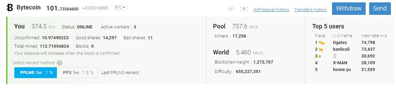 mine bytecoin