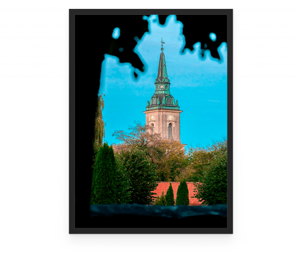 Ansgars Kirke er en folkekirke i det centrale Aalborg, opført i 1929. Den er sognekirke for Ansgars Sogn og er beliggende på Vesterbro foto og plakat af Aalborg og kunst af Nordjylland Speciel lavet plakat i mange størrelser og unikke størrelser og motiver af Aalborg, Frederikshavn og Nordjylland