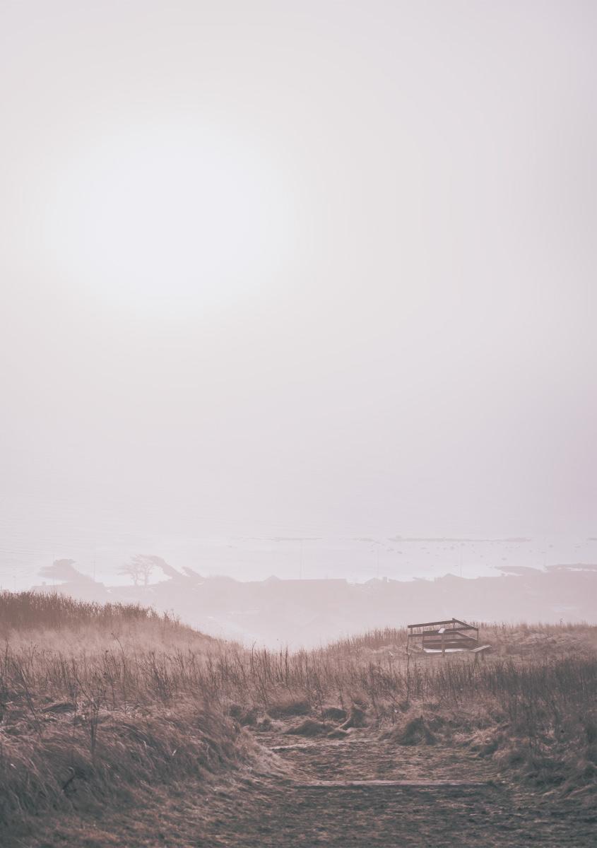 Bangsbostrand strand, udsigt fra Bangsbo Fort. Foto plakat fra Bangsbo Fort kanoner. Udsigt til guldkysten strand i Frederikshavn