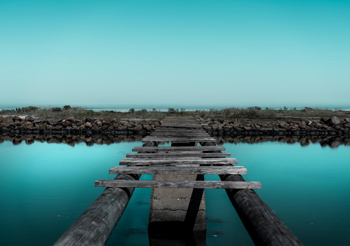 Maldiverne vibe FTK KUNST blå bro vandmærke skansehavnen