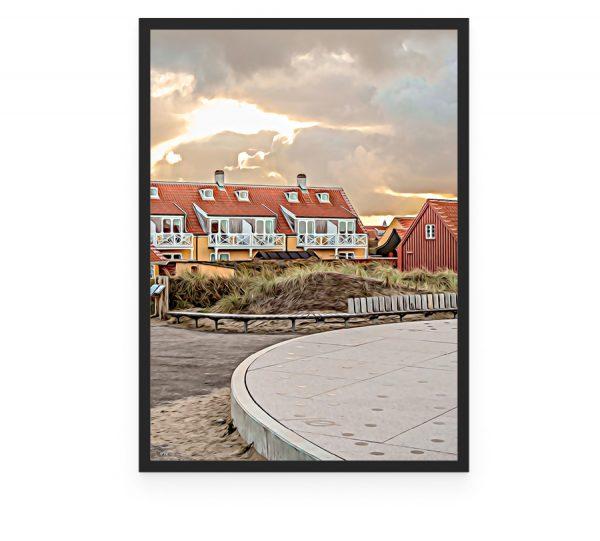 Solnedgangspladsen i Gammel Skagen foto og plakat af Skagen og kunst af Nordjylland Speciel lavet plakat i mange størrelser og unikke størrelser og motiver af Aalborg, Frederikshavn og Nordjylland