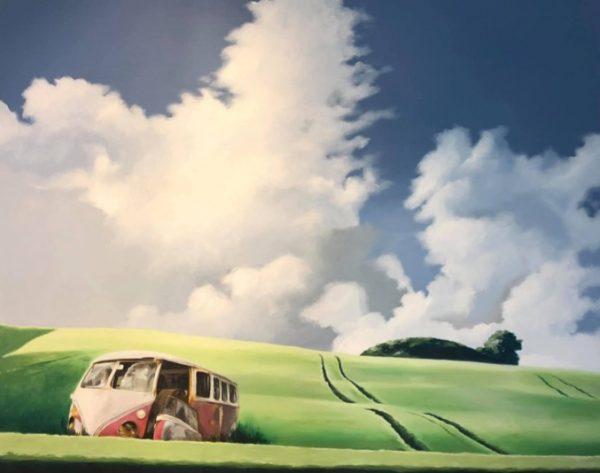 mark bil himmel skyer stol himmel Kunstner Jan Janus Pedersen Langthjem Sæby Malerier maler kunst lokalt nordjylland frederikshavn galleri i sæby skagen dronninglund
