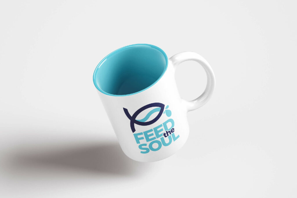 feed the soul logo design on a mug