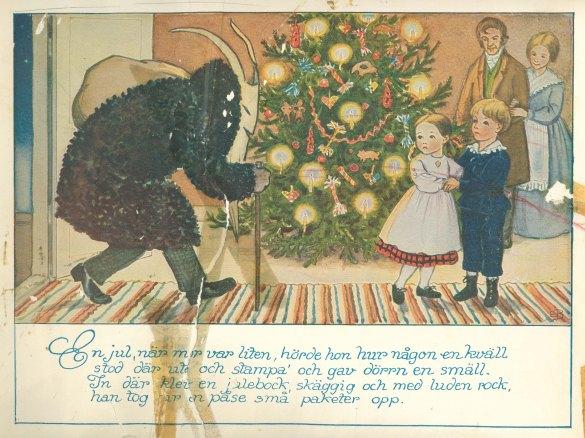 """Julbocken illustrerad i """"Petter och Lottas jul"""""""
