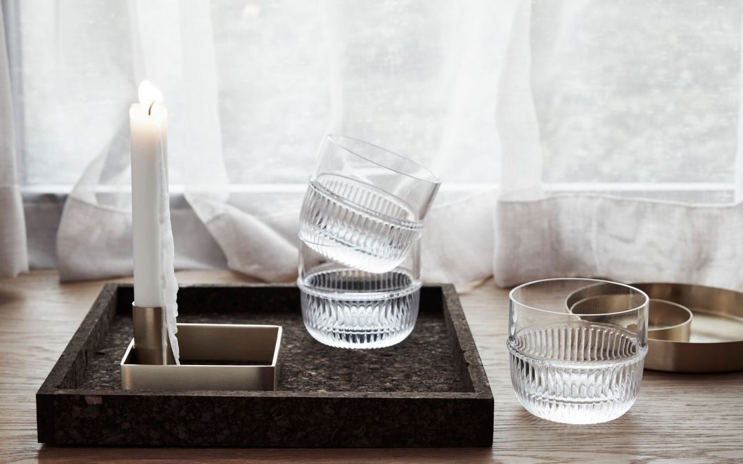 Candle holder and glass tumblers - By Rikke Malling