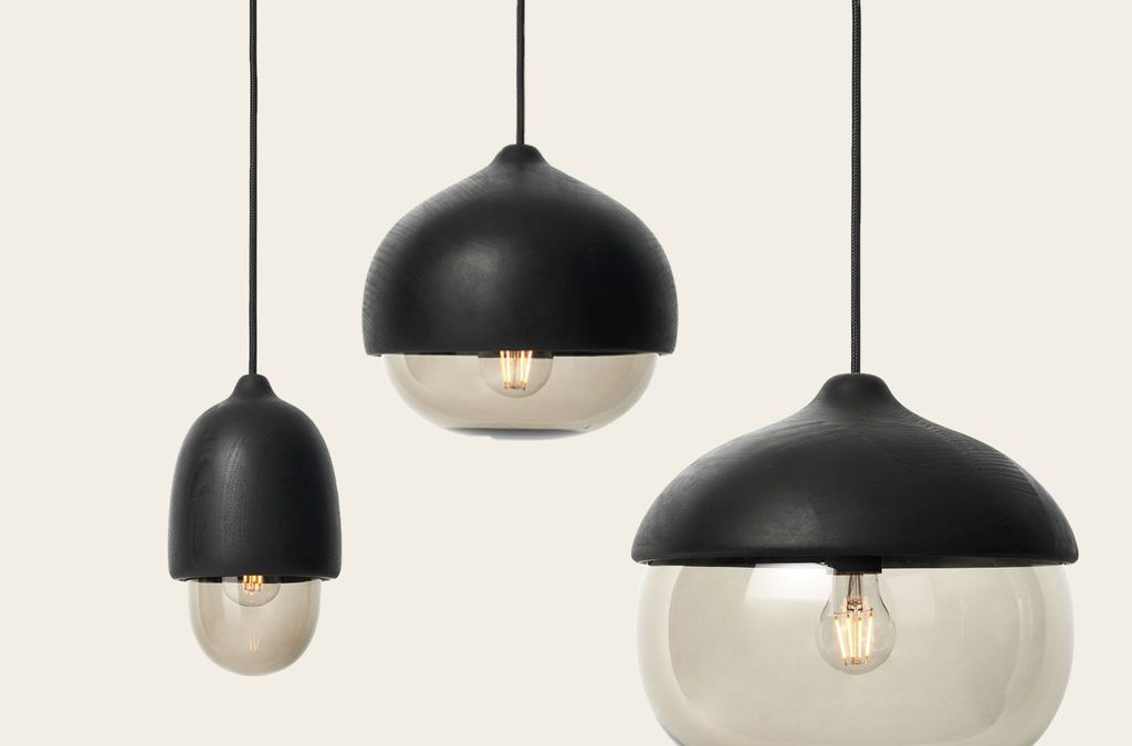 Terho Lamps - Black shade and smoke color glass - by Mater
