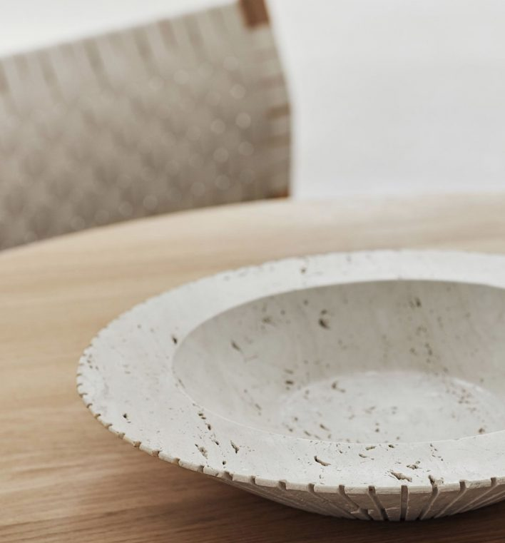 Locus travertine bowl by Fredericia furniture - design by Sofia Østerby