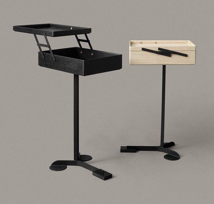 Comodo by Karakter Copenhagen - steel coated - wood traysAchille Castiglioni, 1988