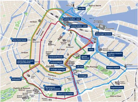 Toeristische fototips Amsterdam grachtenkaart