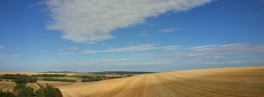 Gemaaide graanvelden in Cote-d'Or
