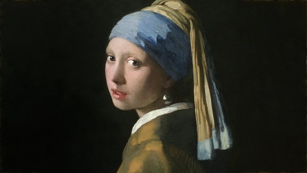 Meisje met de parel olieverfschilderij - after