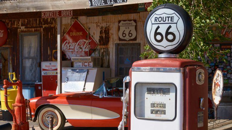 Oud tankstation aan Route 66